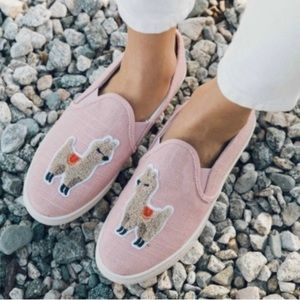 Soludos Blush Llama Embroidered Slip On Sneakers